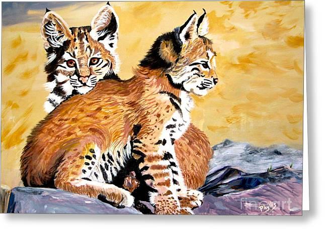 Bobcats Paintings Greeting Cards - Bob Kittens Greeting Card by Phyllis Kaltenbach