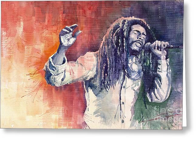 Star Greeting Cards - Bob Marley 01 Greeting Card by Yuriy  Shevchuk