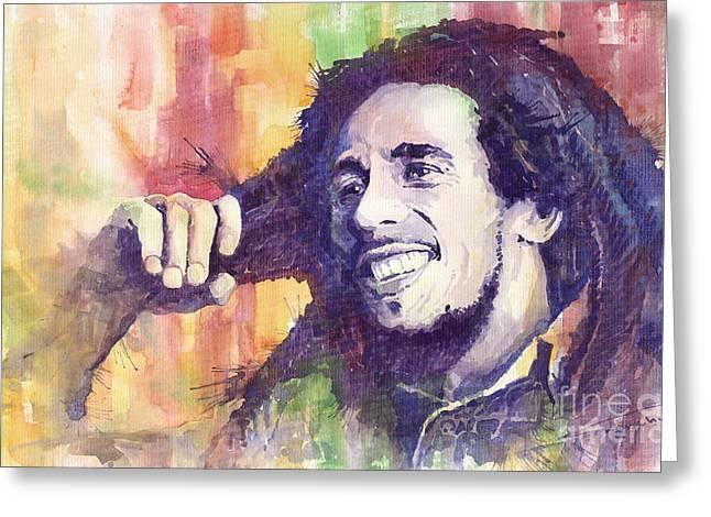 Artist Greeting Cards - Bob Marley 02 Greeting Card by Yuriy  Shevchuk