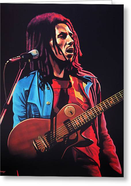Cried Greeting Cards - Bob Marley Tuff Gong Greeting Card by Paul Meijering