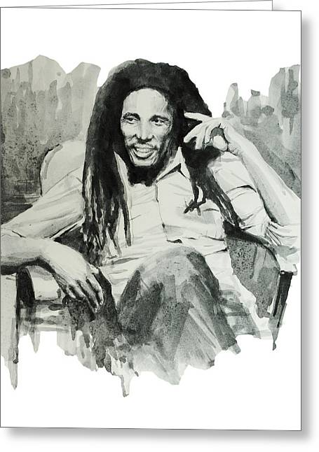 Dreadlock Greeting Cards - Bob Marley 5 Greeting Card by MB Art factory