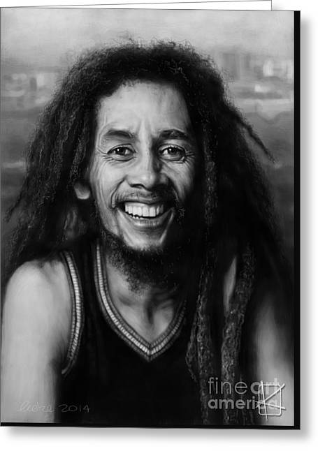 Wacom Greeting Cards - Bob Marley Greeting Card by Andre Koekemoer