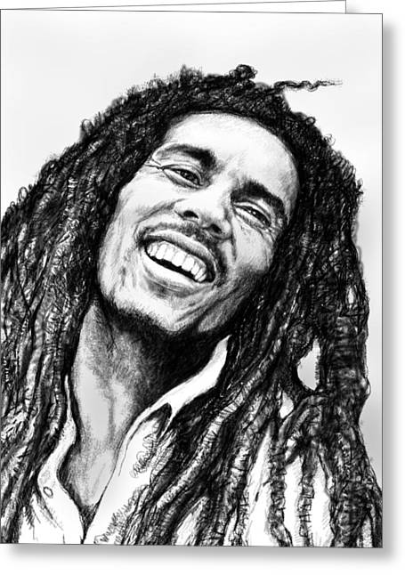 Featured Drawings Greeting Cards - Bob Marley art drawing sketch portrait  Greeting Card by Kim Wang
