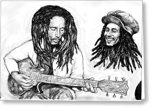 Known Greeting Cards - Bob Marley art drawing sketch poster Greeting Card by Kim Wang