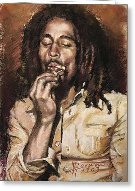 Singer Songwriter Drawings Greeting Cards - Bob Marley Greeting Card by Viola El