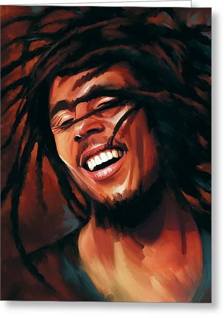 Singer Songwriter Greeting Cards - Bob Marley Artwork Greeting Card by Sheraz A