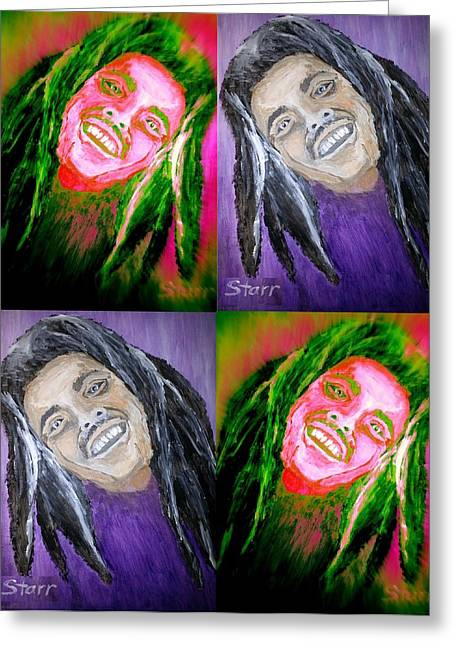 Acclaim Greeting Cards - Bob Marley collage Greeting Card by Irving Starr