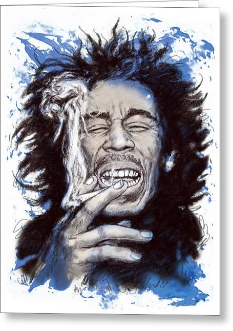 Featured Portraits Greeting Cards - Bob Marley colour drawing art poster Greeting Card by Kim Wang