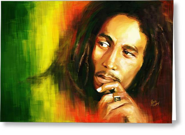 Bob Marley Greeting Card by Cool Canvas