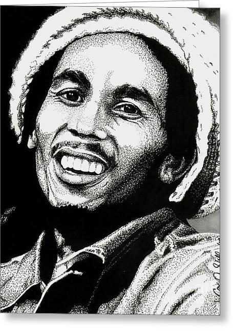 Rocks Drawings Greeting Cards - Bob Marley Greeting Card by Cory Still