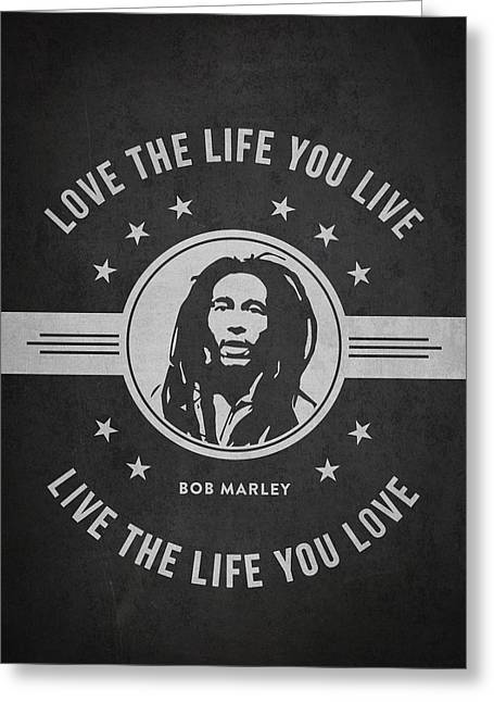 Signature Digital Art Greeting Cards - Bob Marley - Dark Greeting Card by Aged Pixel