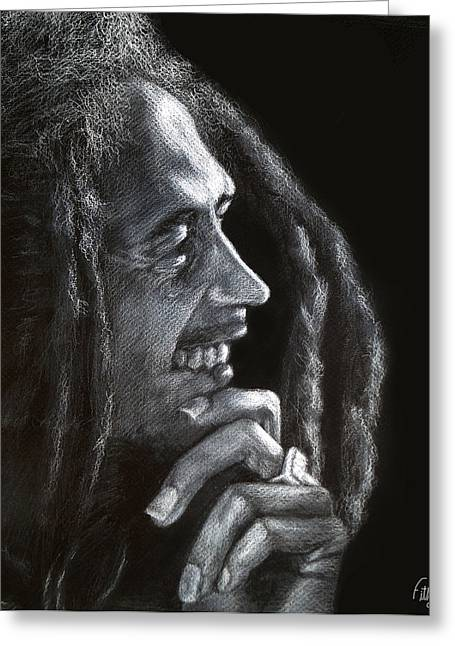 Celebrity Pastels Greeting Cards - Bob Marley  Greeting Card by Fithi Abraham