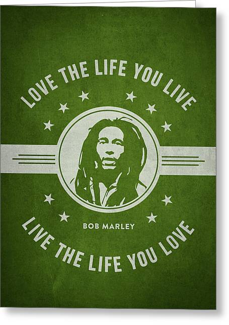 Signature Digital Art Greeting Cards - Bob Marley - Green Greeting Card by Aged Pixel