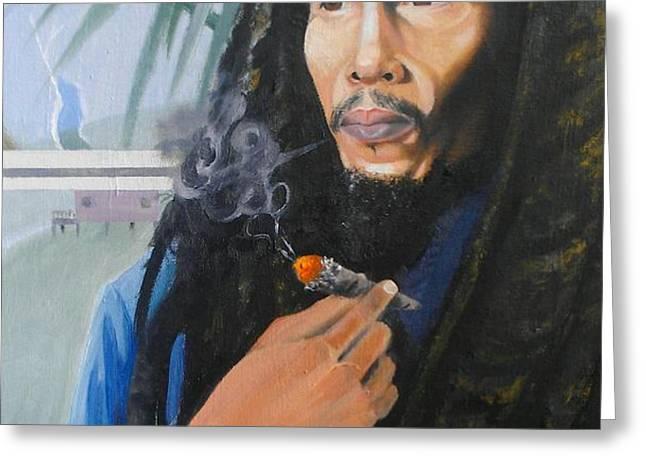 Bob Marley Hay Days Greeting Card by Chuck Collins