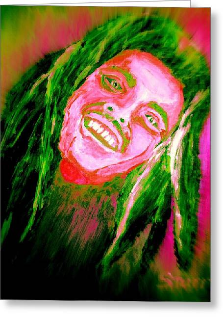 Acclaim Greeting Cards - Bob Marley  Image enhanced Greeting Card by Irving Starr