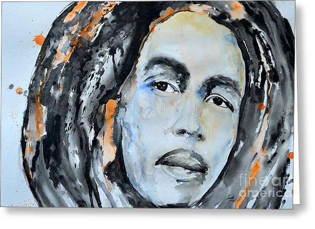 Ismeta Paintings Greeting Cards - Bob Marley Greeting Card by Ismeta Gruenwald