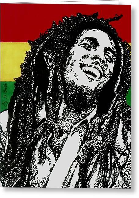 Rocks Drawings Greeting Cards - Bob Marley-Laughing Greeting Card by Cory Still