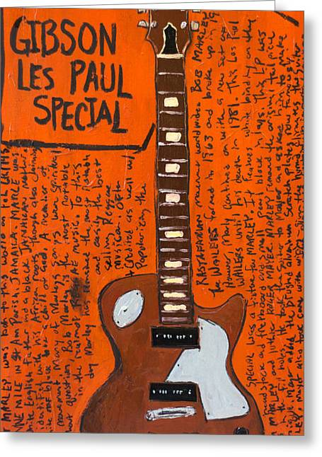 The Les Paul Guitar Greeting Cards - Bob Marley Les Paul Special Greeting Card by Karl Haglund