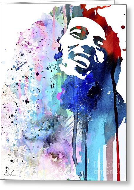 Watercolour Paintings Greeting Cards - Bob Marley Greeting Card by Luke and Slavi
