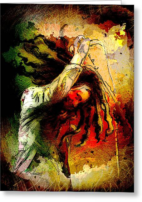 Bob Marley Artwork Greeting Cards - Bob Marley Madness 07 Greeting Card by Miki De Goodaboom