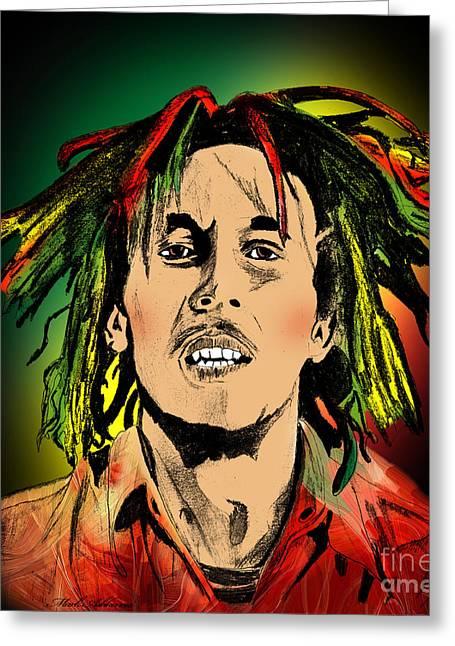African American Digital Art Greeting Cards - Bob Marley Greeting Card by Mark Ashkenazi