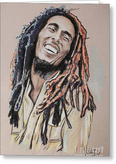 Celebrities Pastels Greeting Cards - Bob Marley Greeting Card by Melanie D