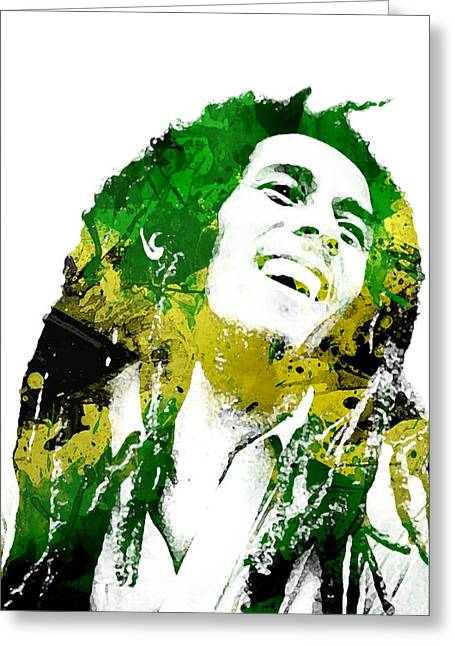 Men Mixed Media Greeting Cards - Bob Marley Greeting Card by Mike Maher