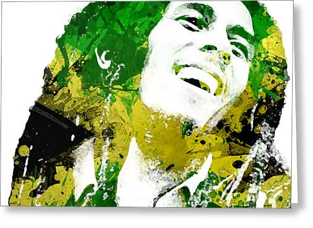 Bob Marley Greeting Card by Mike Maher