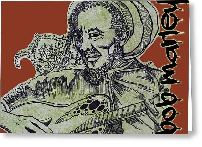 Bob Marley Artwork Greeting Cards - Bob Marley on Acoustic Greeting Card by Maria Gabriela Brazley