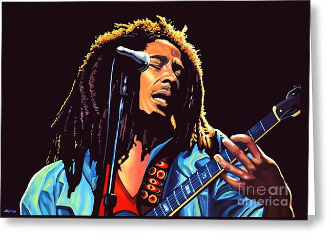 Realistic Greeting Cards - Bob Marley Greeting Card by Paul Meijering