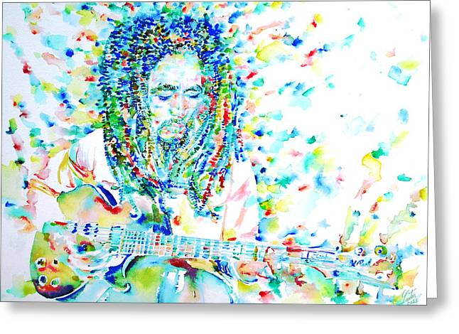 The Les Paul Guitar Greeting Cards - BOB MARLEY PLAYING THE GUITAR - watercolor portarit Greeting Card by Fabrizio Cassetta