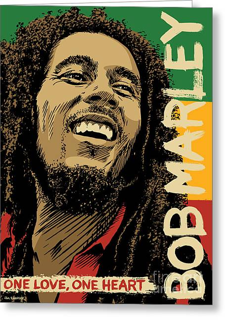 One Greeting Cards - Bob Marley Pop Art Greeting Card by Jim Zahniser