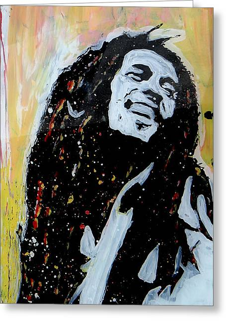 Pop Singer Glass Greeting Cards - Bob Marley PopArt Greeting Card by Esteban Vera