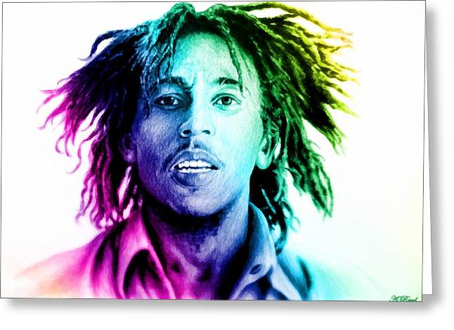 Pencil Sketch Drawings Greeting Cards - Bob Marley  rainbow effect Greeting Card by Andrew Read