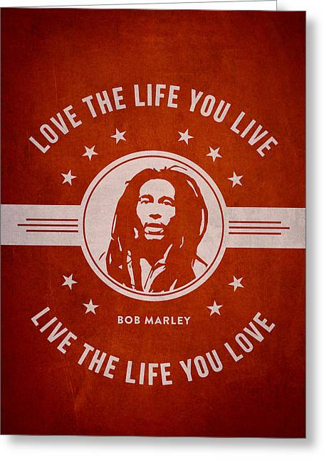 Signature Greeting Cards - Bob Marley - Red Greeting Card by Aged Pixel