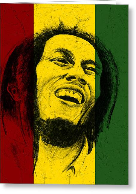Graphite Digital Greeting Cards - Bob Marley Reggae Tribute Greeting Card by Allan Swart