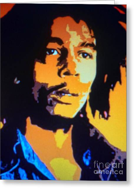 Eyebrow Greeting Cards - Bob Marley Greeting Card by Ryszard Sleczka