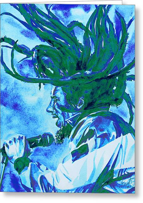 Rasta Greeting Cards - Bob Marley Singing Portrait.2 Greeting Card by Fabrizio Cassetta