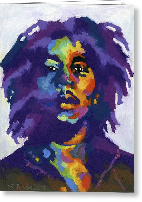 Rasta Greeting Cards - Bob Marley Greeting Card by Stephen Anderson