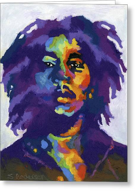 Bob Marley Greeting Card by Stephen Anderson