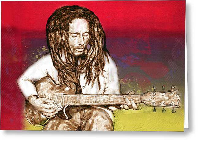 Lead Mixed Media Greeting Cards - Bob Marley - stylised drawing art poster Greeting Card by Kim Wang