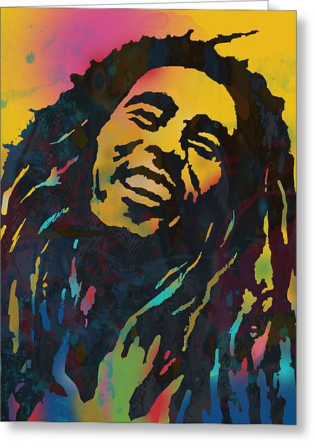 Lead Mixed Media Greeting Cards - Bob Marley stylised etching pop art drawing potrait poser Greeting Card by Kim Wang