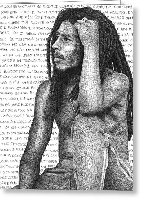 Super Stars Drawings Greeting Cards - Bob Marley Greeting Card by Timothy Glasby