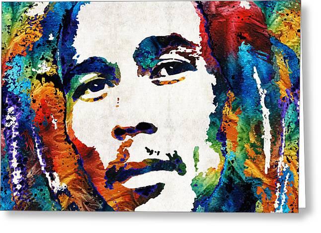 Bob Marley Tribute 2 - Reggae Music Art By Sharon Cummings Greeting Card by Sharon Cummings