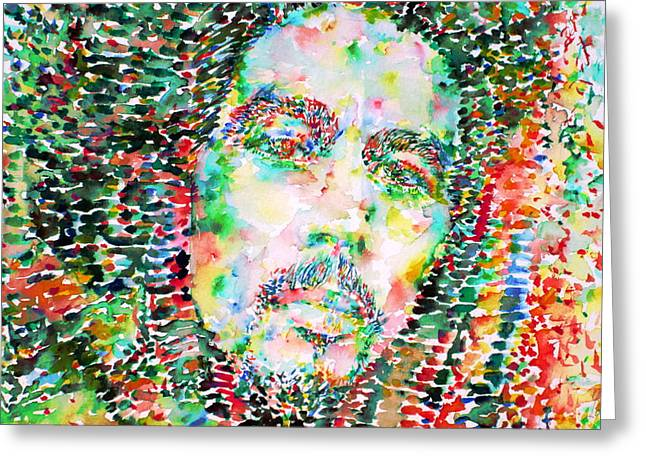 Rasta Greeting Cards - Bob Marley Watercolor Portrait.3 Greeting Card by Fabrizio Cassetta