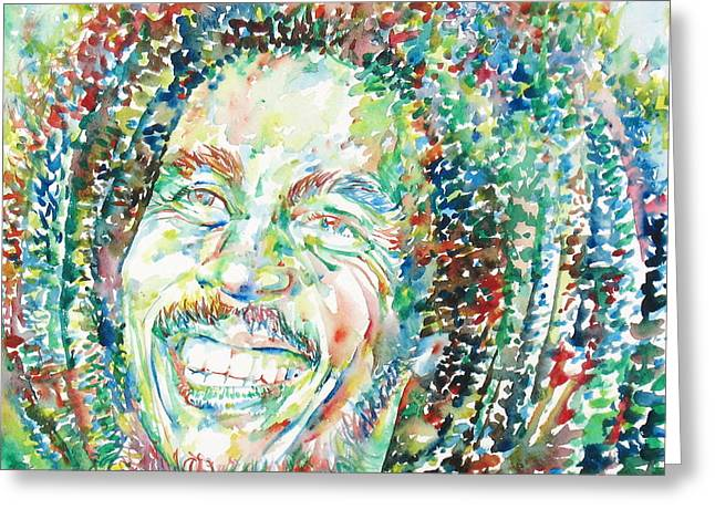 Bobbed Hair Greeting Cards - Bob Marley Watercolor Portrait.5 Greeting Card by Fabrizio Cassetta