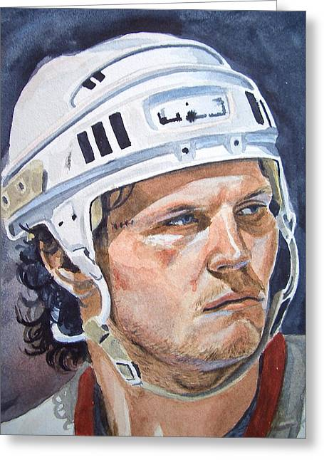 Hockey Paintings Greeting Cards - Bob Probert Greeting Card by Donald Filiault