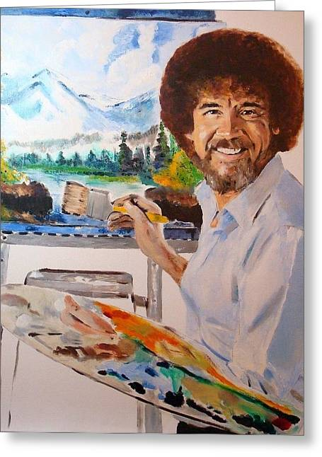 Bob Ross Paintings Greeting Cards - Bob Ross Greeting Card by Debi Day