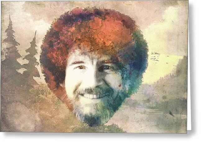Homage Greeting Cards - Bob Ross Greeting Card by Filippo B