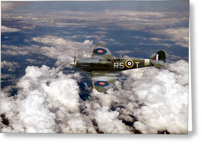 Fighter Ace Greeting Cards - Bob Stanford Tucks Spitfire Mk Vb Greeting Card by Gary Eason